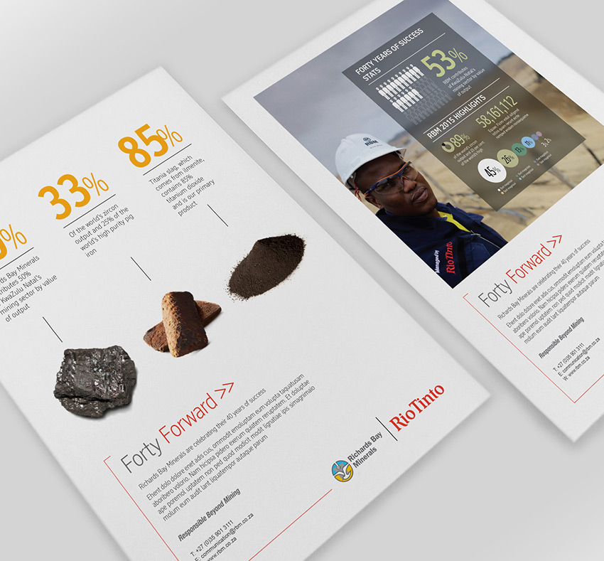 Example of infographic design for Rio Tinto mine