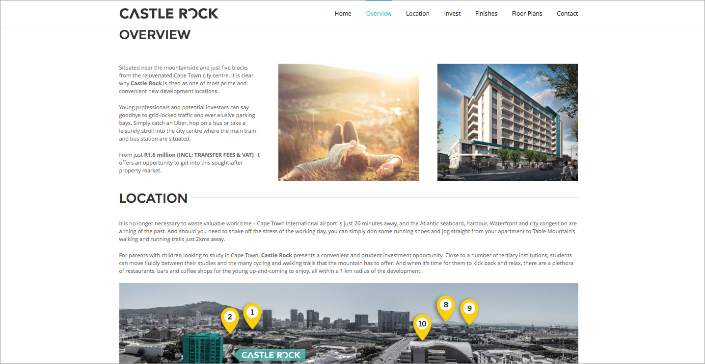 Website design for Property Development, Castle Rock, in Cape Town South Africa