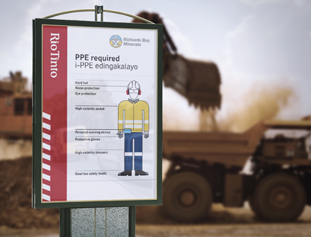 Safety signage for mines in Africa