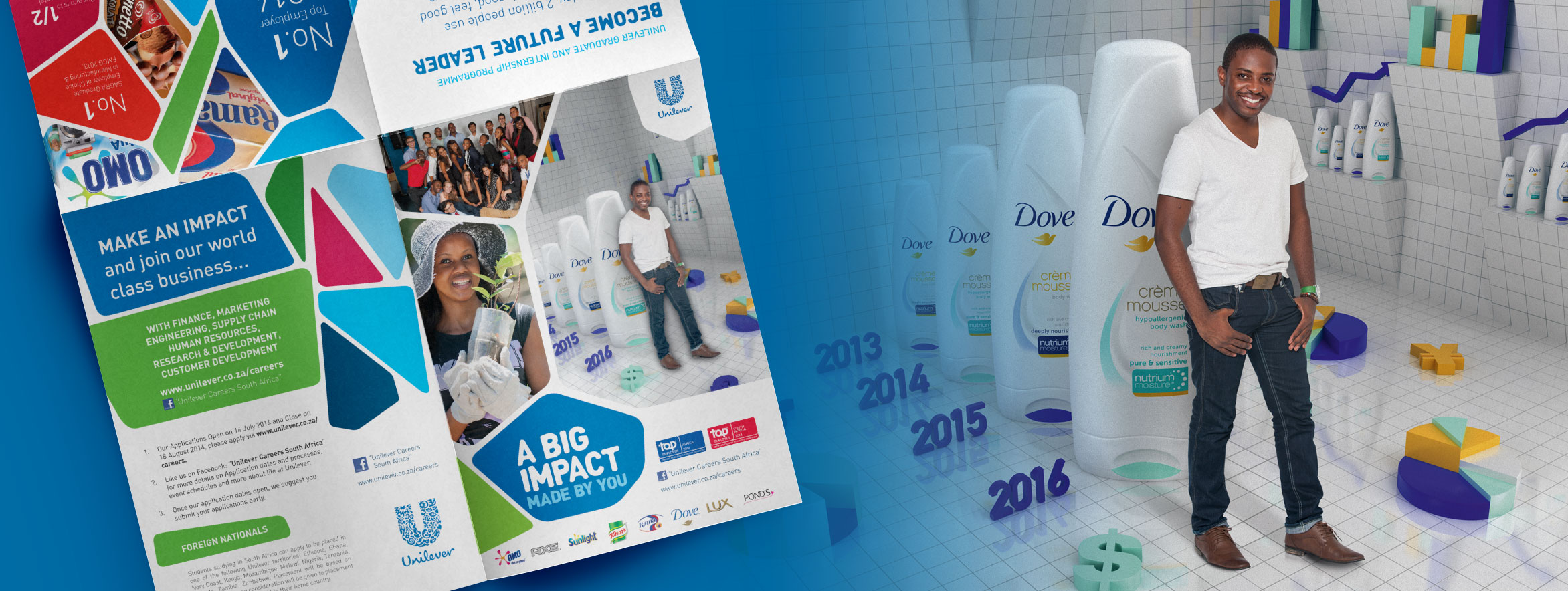 Employer Brand Marketing and graphic design in South Africa example with posters, pullup banners and social media campaign