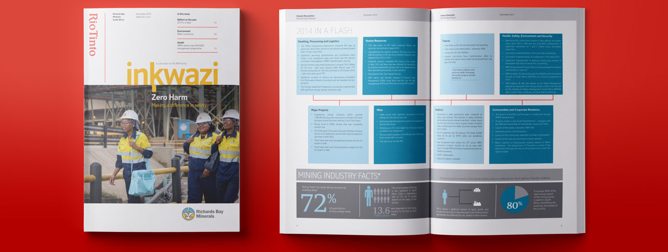 Mining Marketing in South Africa for Rio Tinto. Magazine newsletter design and publication.